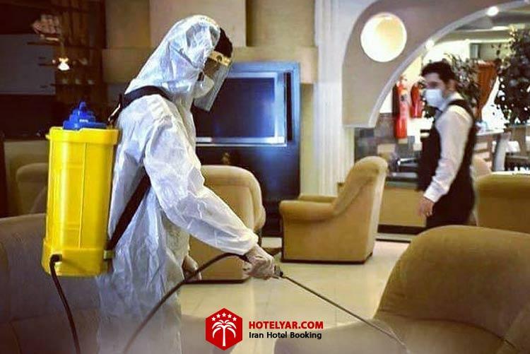 عکس ضدعفونی کردن هتل آریان کیش در زمان کرونا